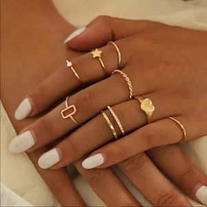 8-Piece Stackable Ring Set. Assorted Sizes 5-7.